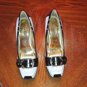 Bumper White & Black Spectator Heels